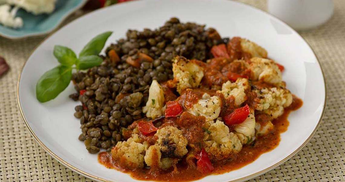 Roasted Cauliflower and Lentils with Charred Red Pepper Sauce