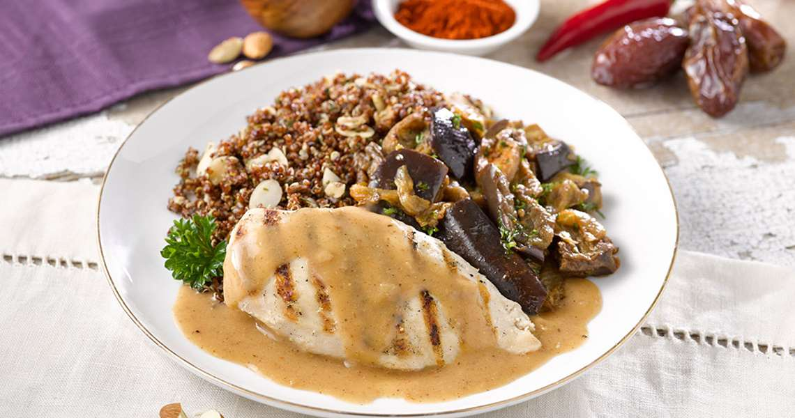 Grilled Chicken with Savory Almond and Date Sauce