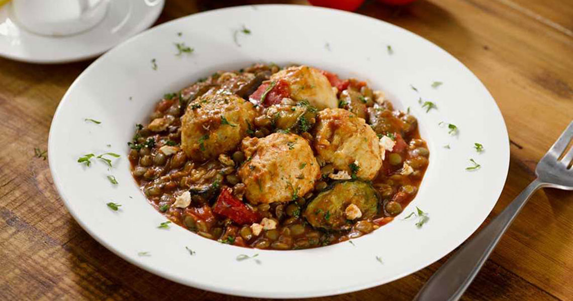 Chicken Meatballs with Lentils and Spiced Tomato Sauce
