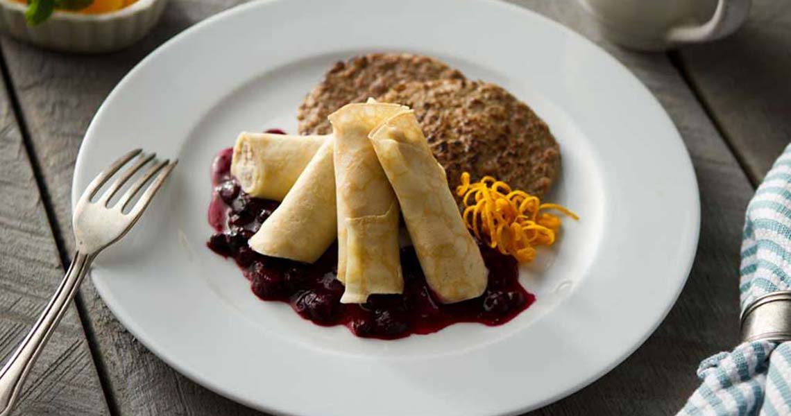 Ricotta Crepe with Berry Compote