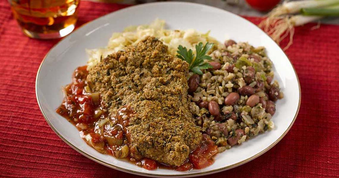 Oven Fried Catfish with Spicy Tomato Leek Sauce