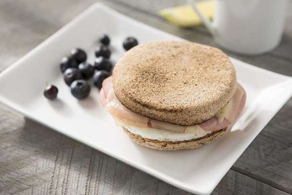 English Muffin Sandwich with Egg Ham and Swiss