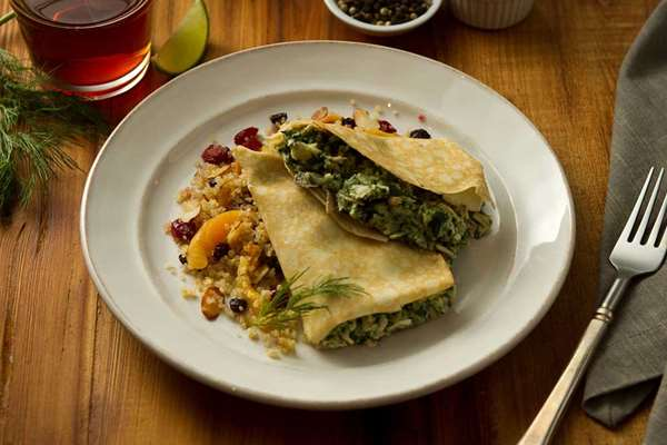 Chicken Dill Crepe with Fruited Quinoa
