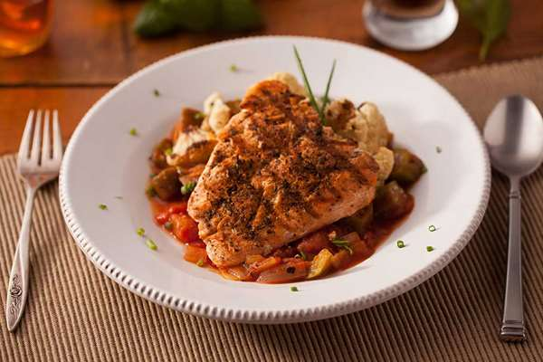 Blackened Salmon with Creole Tomato Okra Stew