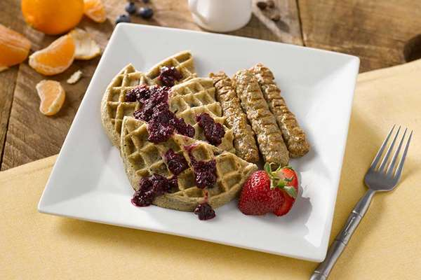 Blueberry Waffles with Mixed Berry Compote